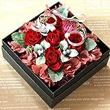 誕生日プレゼント 還暦祝いプレゼント 【フラワーギフト 】 枯れないお花の宝石箱 プリザーブドフラワーの サプライズフラワーボックス♪ レッド   【  記念日 お見舞い 結婚祝い 彼女】