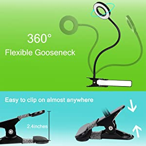 Bed Headboard DZLight Eye-Care Flexible Clip on Desk Lamp with 3 Modes 5-Level Dimmer and Auto Off Timer Computer 12W Dimmable LED Reading Light Clip on Light for Desk 5V//2A Adapter Included