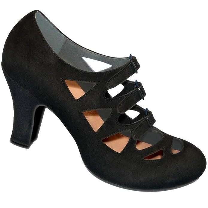 Aris Allen Womens Black 1940s 3-Buckle Dance Shoes $69.95 AT vintagedancer.com