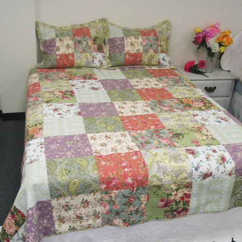 [Flower kingdom] 100% Cotton 3PC Floral Vermicelli-Quilted Patchwork Quilt Set (Full/Queen Size)