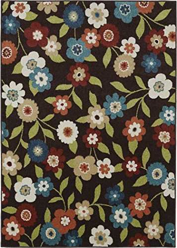 Dean Indoor/Outdoor Carpet Coastal Living Lifestyles Daisy Field Chocolate Area Rug 5'2