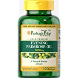Puritans Pride Evening Primrose Oil 1000 Mg With Gla, 120 Count (Color: Green Bottle, Yellow Soft Gels)
