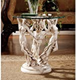 The Muses Glass Topped Sculptural End Table