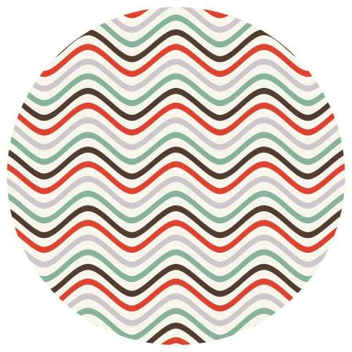 Supertogether - Confezione di 4 adesivi circolari da parete con fantasia a onde colorate retro, staccabili, 33 cm, colore: Blu