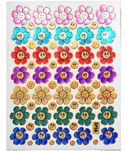 Jazzstick 350 Glitter Smiling Flower Decorative Sticker 10 sheets (VST08A03)