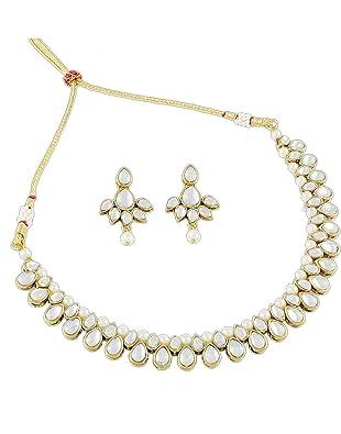 Kartcart Tiara Collection White Brass Metal Necklace Set For Women at amazon