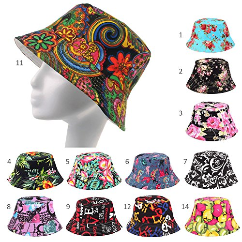 Fashionable-Unisex-Satin-Lined-Printed-Pattern-Cotton-Bucket-Hat