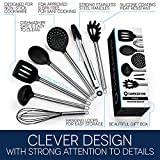 7 Piece Cooking Utensils Set - Best Stainless Steel & Silicone Kitchen Utensils incl. Ladle, Spoon, Turner, Tongs, Whisk, Skimmer, Spaghetti Server - Enjoy the Comfort & Safeness Today!