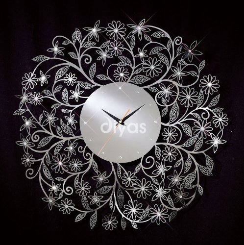Floral Chrome Wall Clock with Crystal Decoration - HP024438