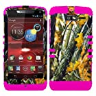 CellPhone Trendz Hybrid 2 in 1 Case Hard Cover Faceplate Skin Pink Silicone and Camo Mossy Hunter Oak Big Branch Snap Protector for Motorola DROID RAZR M (XT907