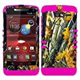 CellPhone Trendz Hybrid 2 in 1 Case Hard Cover Faceplate Skin Pink Silicone and Camo Mossy Hunter Oak Big Branch Snap Protector for Motorola DROID RAZR M (XT907, 4G LTE, Verizon)