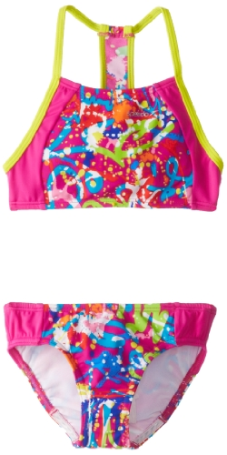 Speedo Big Girls'  Graphic Graffiti Camikini Splice Two-Piece Swimsuit, Pink, 10 image