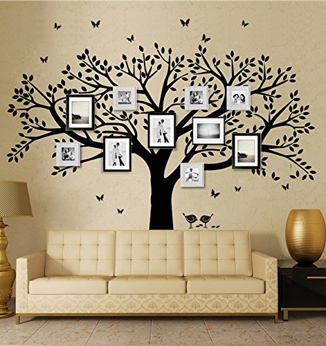 Family Tree Wall Decals Butterflies and Birds Wall Decals Vinyl Wall Decals Photo Frame Tree Stickers Living Room Home Decor Wall Sticker (Picture Tree For Wall compare prices)