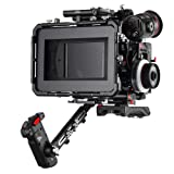JTZ DP30 Camera Cage 15mm Rail Rod Baseplate Rig+ Shoulder Pad and Electronic Grip+Matte Box+Follow Focus+Power Supply Plate (C5 Version) Kit for SONY A7,A7II,A7R,A7RII,A7S,A7SII DSLR Cameras (Color: Camera Cage Rig+Shoulder Handle Grip+Follow Focus+Matte Box+Power Supply(C5 Version))