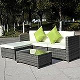 Giantex 5pc Patio Rattan Wicker Sofa Set Cushioned Furniture Garden Steel Gradient Gray