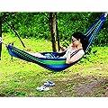 Tragbare Segeltuch Hängematte schwingen Schlafenbett Outdoor Reisen Camping Draussen Lager Strand mit Baumwolseil Transportbeutel Aufhängeset blau von Generic - Gartenmöbel von Du und Dein Garten