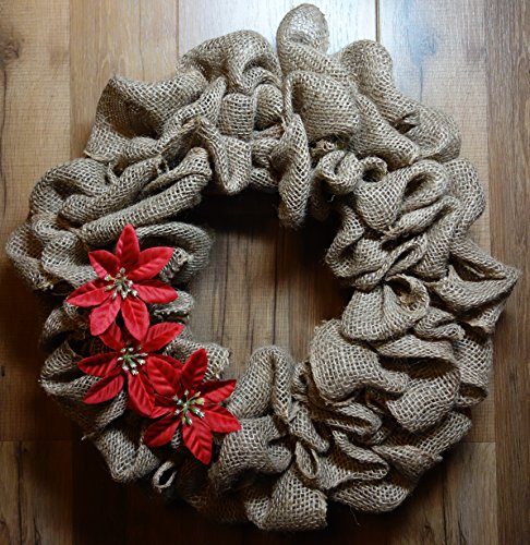 Natural Burlap Wreath Holiday/Christmas Poinsettia Flowers
