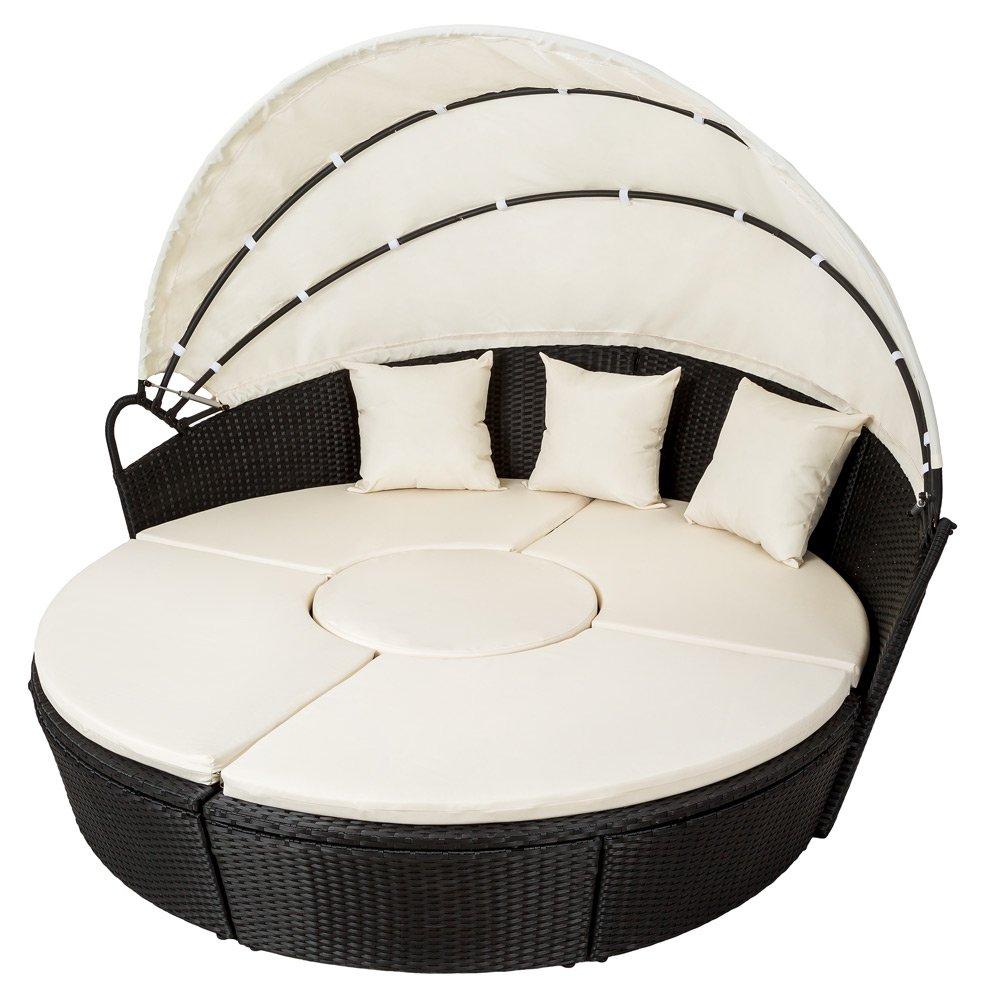 TecTake Hochwertige XXL Aluminium Polyrattan Sonneninsel Liegeinsel mit Sonnendach - Sonnenliege Gartenlounge Sitzgarnitur Rattan Lounge schwarz