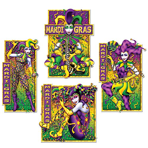 WeGlow International Mardi Gras Masquerade Mime Cutouts (4 Count)