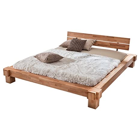 Bett Holzbett Einzelbett Kopervik, 160x200, Massivholz Holz Kernbuche massiv geölt, Breite 196 cm, Tiefe 236 cm, Höhe 75 cm