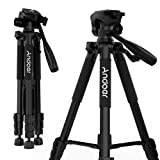 Andoer Camera Tripod, Compact and Lightweight with Universal Tripod Smartphone Mount for Apple, iphone Samsung and Other Brands Smartphones+carrying bag (Color: 145cm/57inch, Tamaño: 4 section 18