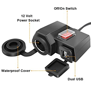 Meetou Motorcycle Handlebar USB Phone Charger Adapter 5V 2.1A Dual USB Ports 12V Car Cigarette Lighter Outlet Socket with Waterproof Power Switch (Color: Black)