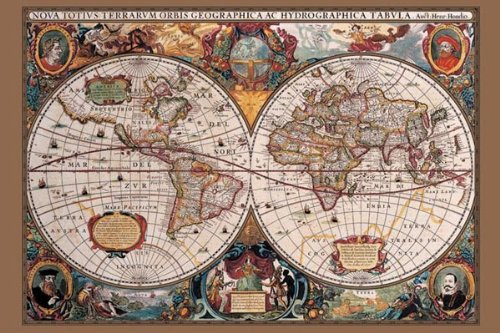 World Map 17th Century Poster 18x12 (World Map Poster Small compare prices)