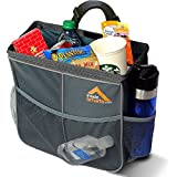 InsideSmarts Car Garbage Can. Waterproof Storage Organizer & Trash Bag: 3 Side Pockets for Toys, Snacks, Cans, Drinks. (Gray)