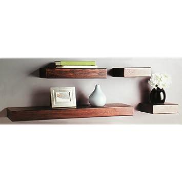 4er set wandregal dunkelbraun espresso dc970. Black Bedroom Furniture Sets. Home Design Ideas