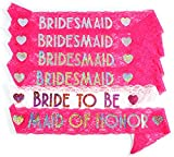 Add a little craziness to your celebrations with the Bachelorette to Bride range from innovative party supplies company, Life is a Party. Every set contains Bride to Be x 1, Maid of Honor x 1, Bridesmaid x 4. Six sashes in total. Each sash me...