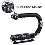 Zeadio Triple Hot-Shoe Mounts Handheld Stabilizer, Video Stabilizing Handle Grip for Canon Nikon Sony Panasonic Pentax Olympus DSLR Camera/Camcorder