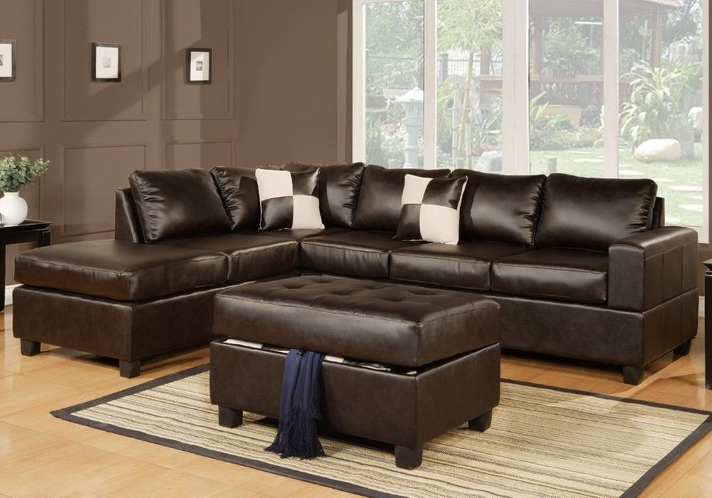 1PerfectChoice Chic Modern Bonded Leather Living Room Sectional Sofa Chaise w/Ottoman Pillows Color: Espresso