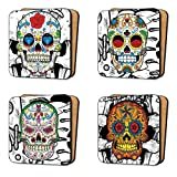 Sugar Skull Art screen-print Coasters Set (4 Coasters) Dinnerware, Furniture - Set 1