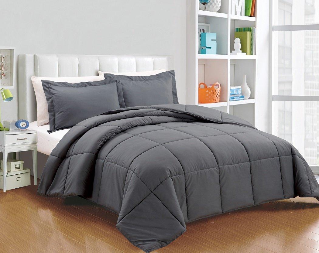 chezmoi collection 3 piece down alternative comforter set queen gray