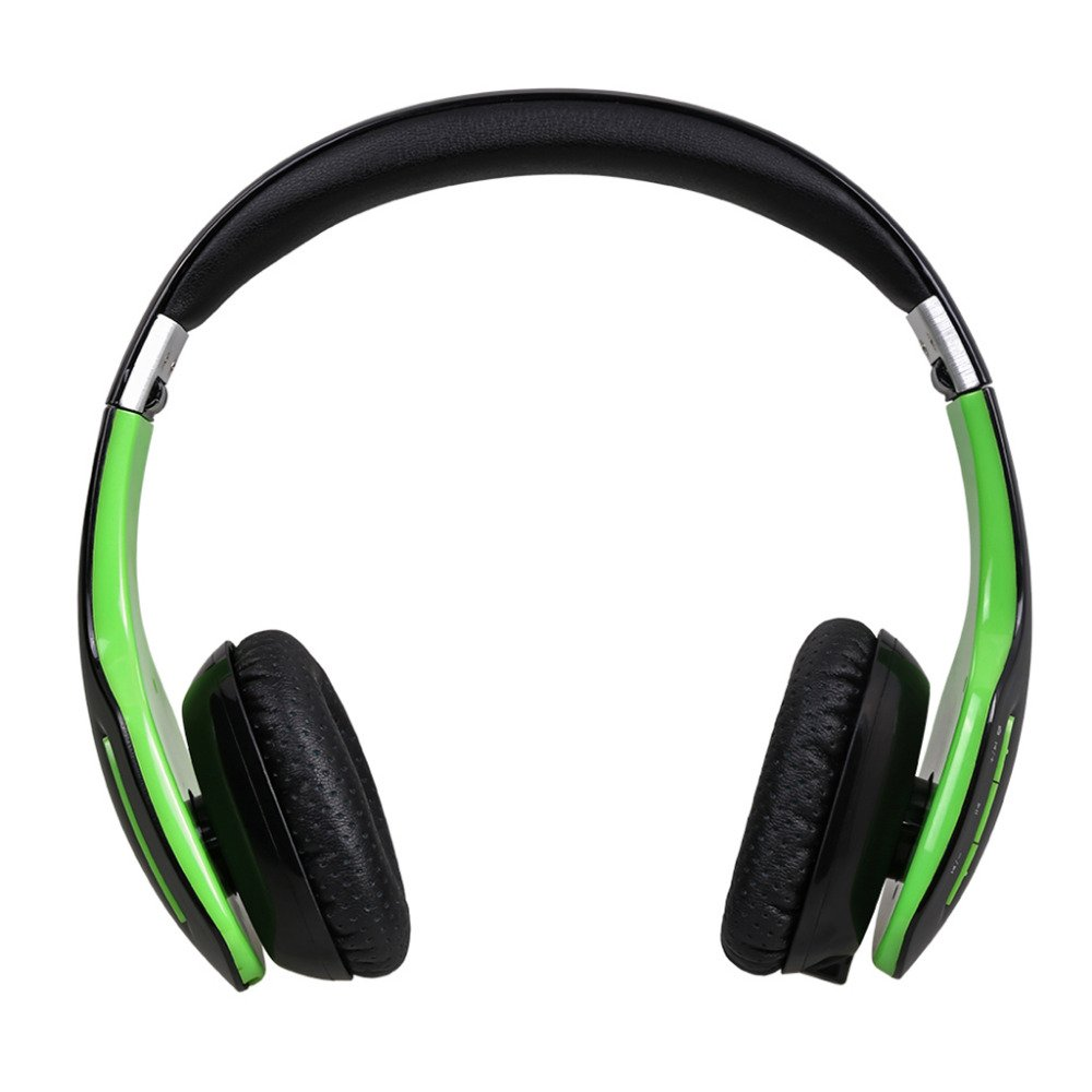 AUSDOM M07s 2016 Version Foldable Over-Ear Bluetooth Headphones Wireless Wired Audio Streaming Headsets with Microphone for iPhone Mac Laptop Galaxy (Black/Green)