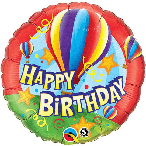 "Happy Birthday Hot Air Balloon with Streamers & Stars 18"" Mylar Balloon by Qualatex"