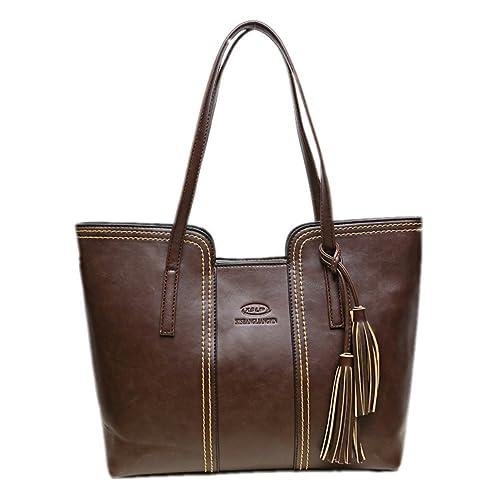 Bagoddess Fashion of US Retro Pu Leather Elegent Shopper Large Women Tote Handbag(C2)