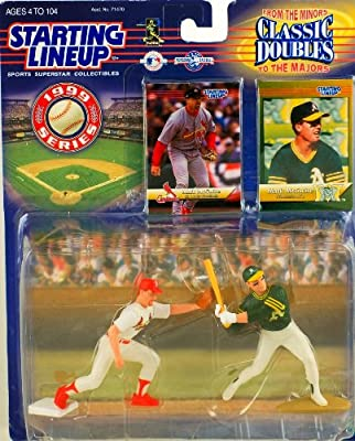 1999 Series - Hasbro - Starting Lineup - Classic Doubles - From Minors to Majors - Mark McGwire Action Figures - w/ Trading Cards - Modesto A's to St. Louis Cardinals - Rare - Limited Edition - Collectible