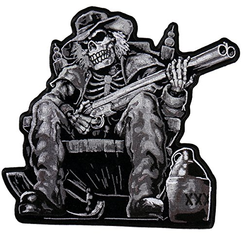 Hot Leathers, MOONSHINE SKELETON, High Thread Embroidered Iron-On / Saw-On Rayon PATCH - 4