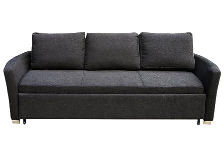 Klassik 3-er Schlafsofa Polster Couch mit Bettfunktion Federkern schwarz