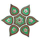 Mela Beaded Decorative Festive Diwali Rangoli And Tea Light Candle Holder With Gift Box (Acrylic, 24 Cms, Green...