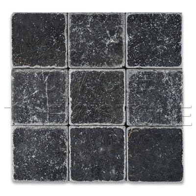 """Taurus Black Marble 4"""" X 4"""" Tumbled Field Tile"""