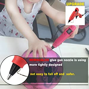 Mini Hot Melt Glue Gun Kit with 30pcs Glue Sticks,Holding Stand and Scald-proof Rubber Nozzle (20 Watts, Red)