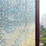 Rabbitgoo® 3D ガラスフィルム 窓用フィルム 浴室目隠しシート 断熱/紫外線カット 無接着剤 再利用可能 プライバシーガラスフィルム アップグレード版 (60 x 200cm)