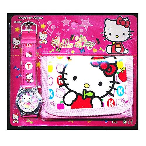 Hello Kitty per bambini, Set orologio e portafoglio, per bambini, ragazzi e ragazze, ideale per regali di Natale vendute da regalo, motivo: Happy Bargains Ltd