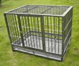 """36"""" Professional Superior Quality Heavy Duty Dog Pet Cat Crate Cage Kennel On Wheels *Silver*"""