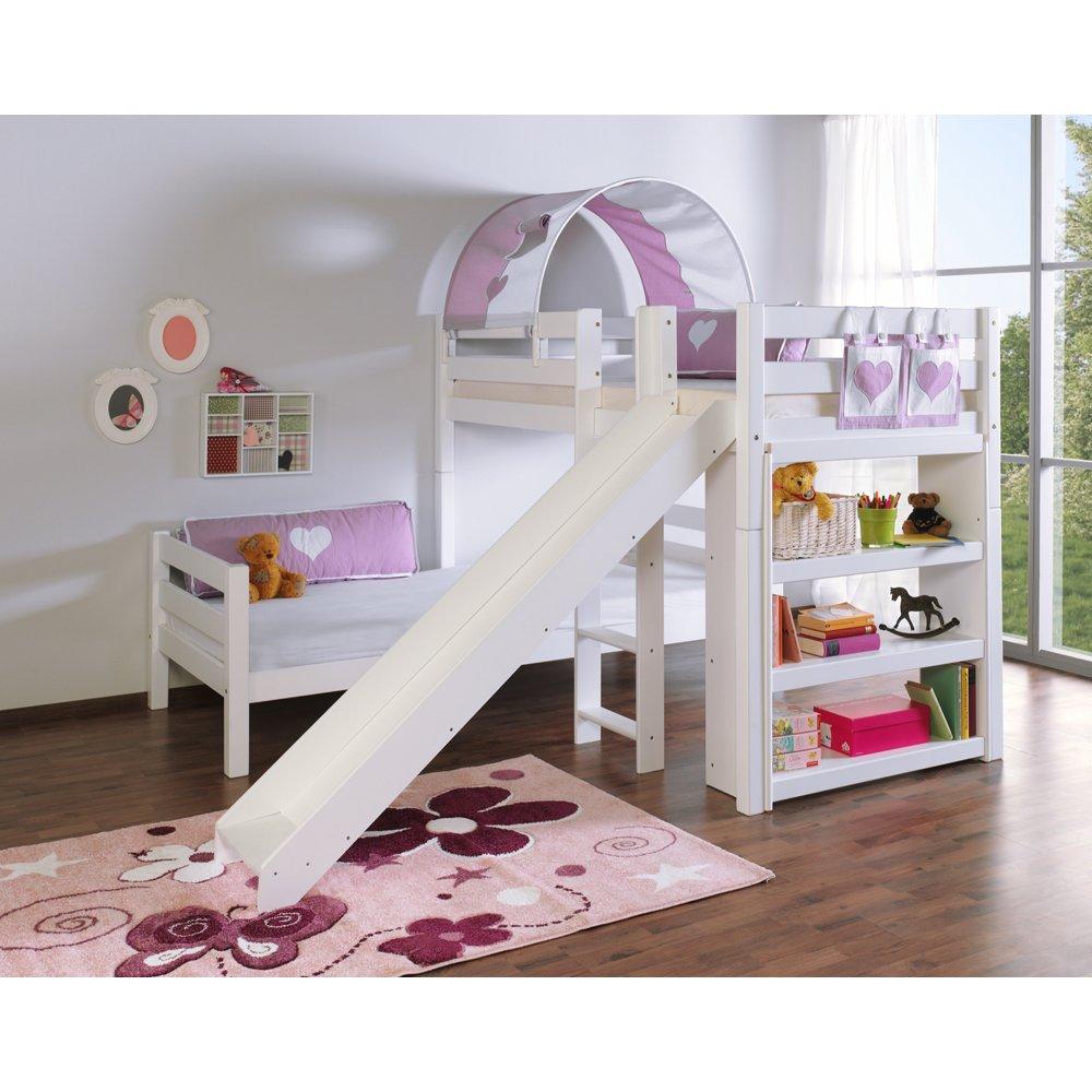 Relita Etagenbett BENI L mit Rutsche, Buche massiv, weiß lackiert, mit Tunnel und Tasche purple/weiß Herz