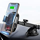 Wireless Car Charger Mount, 10w Automatic Infrared Qi Fast Charging Car Phone Holder Dashboard Compatible with iPhone Xs/Xs Max/XR/X, Galaxy Note 9/ S9/ S9+ & Other Qi Enabled 4.0-6.5 in (Color: Black1)