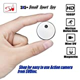 SVD Inc. Mini Wireless Spy Camera/Sports Camera Recorder, 1080P HD, Built-in Battery. 8GB Memory Loop Recording with Motion Detector. with Free Bicycle/Bike Mount. for Home, Sports, Car, Office etc. (Color: Black & White)