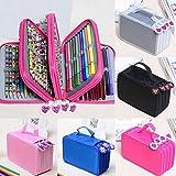 NPLE--New Colors Portable Drawing Sketching Pencils Case Holder Bag for 72pcs Pencils (Hot Pink) (Color: Hot Pink)